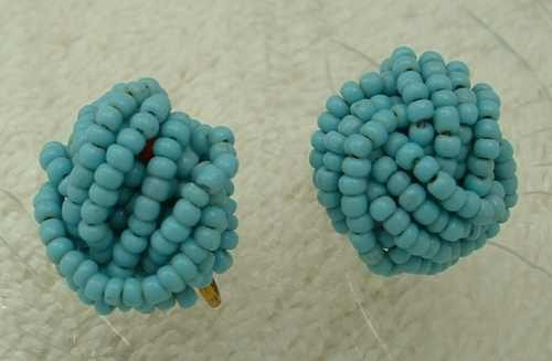 Turquoise-Color Seed Bead Screw Earrings Vintage Jewelry