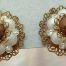 Miriam Haskell Maybe Faux Pearl Rhinestone Cluster Screw Vintage Earrings