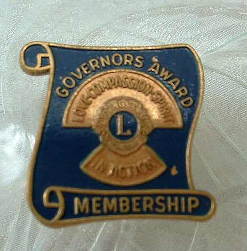 Lions International Governors Award Membership Tie Tac Lapel Pin