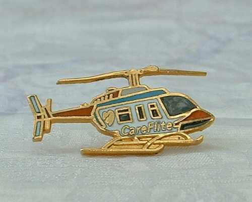 Helicopter Tie Tac Lapel Pin Cloisonne Enamel Care Flite Jewelry