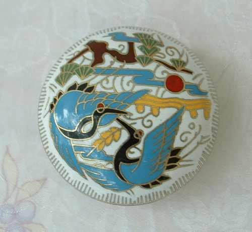 Cloisonne Enamel 1.75-inch Trinket Box Round Blue Swan Heron