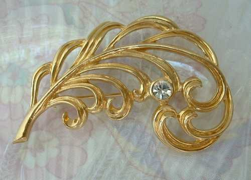 Openwork Leaf Pin Sparkling Rhinestone Floral Jewelry