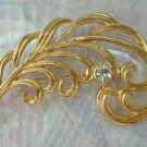 Exquisite Openwork Leaf Brooch Pin Rhinestone Jewelry