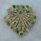 Vintage Shield Brooch Emerald-Green Rhinestones Pin Jewelry