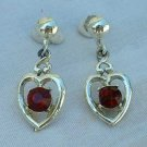 Red Ruby Rhinestone Heart Dangle Earrings Screw Style Jewelry