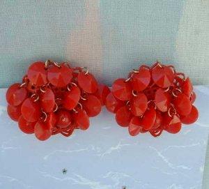 Red Enameled Flapper Clip Earrings Vintage Jewelry