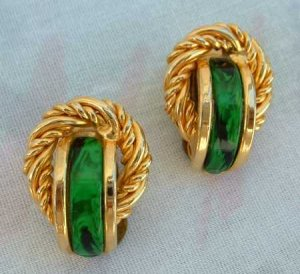 Green Marbled Rope Clip Earrings Vintage Jewelry