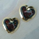 Swirled Polychrome Enamel Heart Earrings Sweetheart Jewelry