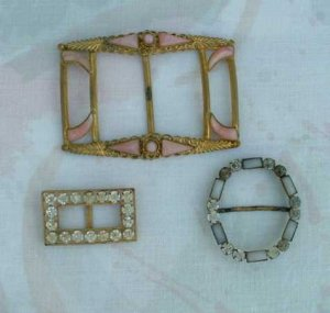 Lot of 3 Antique Czech Scarf Sash Buckles Pink Czechoslovakia Vintage