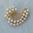 Elegant Wave-Shaped Faux Pearl Goldtone Brooch Pin Jewelry