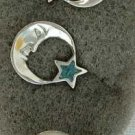 Man in the Moon Star Jewelry Set Inlaid Faux Turquoise Toe Ring Earrings