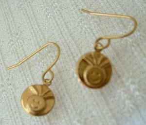 Smiley Face Dangle Earrings 24K over Surgical Steel Jewelry