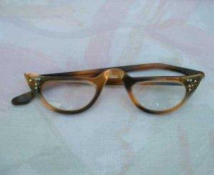 Retro Faux Tortoise Shell Reader Eye Glasses AB Rhinestones Stars Vintage