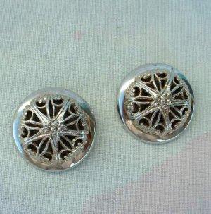 Raised Starburst Clip Earrings Openwork Black Enamel Floral Vintage Clip Jewelry