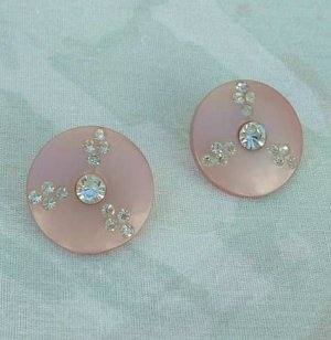 Pink Thermoset c1950 Rhinestone Button Clip Earrings Vintage Jewelry