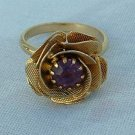 Textured Rose Amethyst Rhinestone Adjustable Ring Jewelry