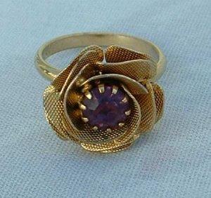 Textured Rose Amethyst Rhinestone Adjustable Ring Jewelry