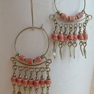Pink Ceramic Bead Dangle Earrings Wire Hoops Spring Summer Jewelry