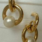 Double Hoop Dangle Earrings with Faux Pearls Goldtone Metal Jewelry