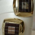 Retro Deco Mirror Earrings Vintage 1950s Post Style Jewelry