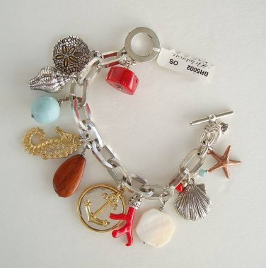 Brighton Marine Charm Bracelet Seahorse Coral Shells Hefty Jewelry