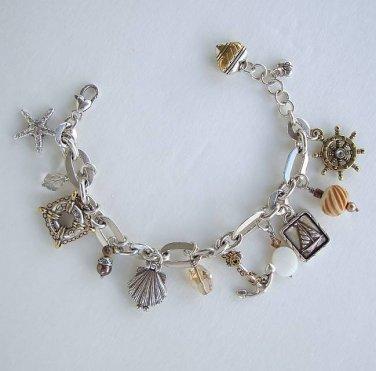Brighton Nantucket Charm Bracelet Marine Sailing Theme Designer Jewelry