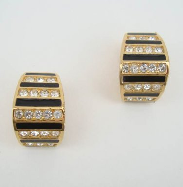 Dior Christian Black Enamel Rhinestones Huggie Clip On Earrings Designer Jewelry