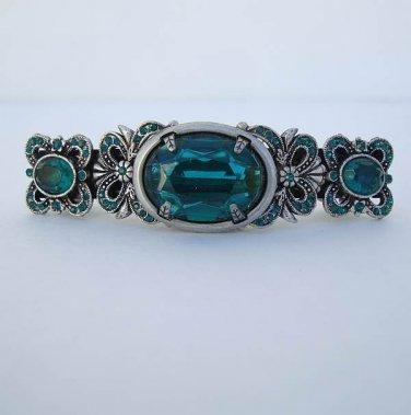 Sweet Romance Emerald Green Rhinestone Hair Barrette Victorian Style Jewelry