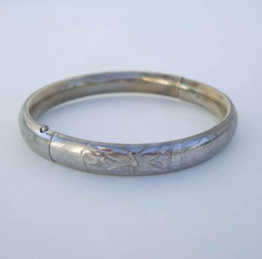 Barrows HF Sterling Silver Slider Bangle Bracelet Vintage Designer Jewelry