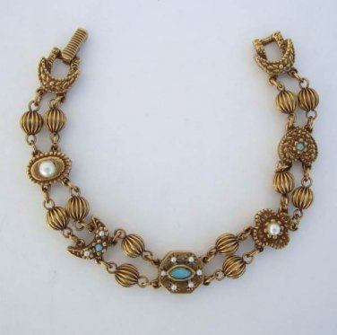 Goldette Victorian Style Link Bracelet Pearls Turquoise Beads Vintage Jewelry