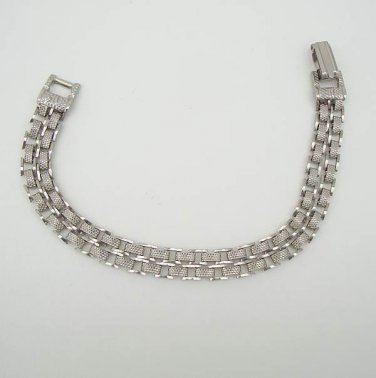 Double Strand Chain Link Bracelet Textured Silvertone Vintage Jewelry
