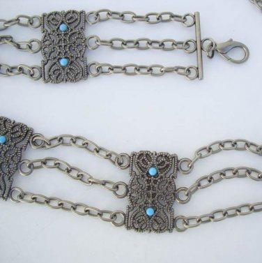 Gunmetal Gray Belt Openwork Chain Belt with Turquoise Beads