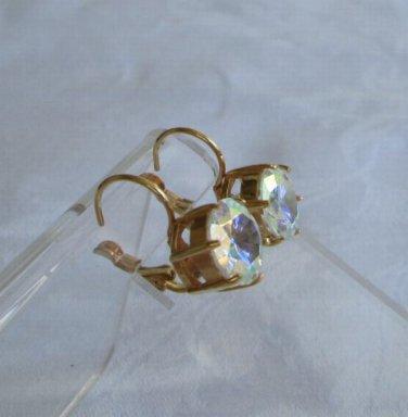 Mystic Topaz Brilliant Cut Leverback Earrings Goldplated Jewelry