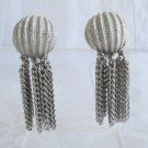 Trifari Crown Silvertone Ribbed Dome Clip On Earrings w Tassels Vintage Jewelry