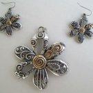 Openwork Floral Jewelry Set Silvertone Goldtone Necklace Pendant Earrings