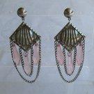 Retro Chandeliar Dangle Earrings Pink Pendulum Drops Vintage Jewelry