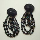 Dazzling Dangle Clip On Earrings Multi-Strand AB Beads Vintage Jewelry