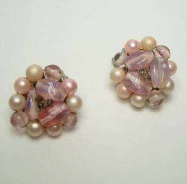Japan Pink Cluster Clip On Earrings Moonglow Lucite Accents Vintage Jewerly