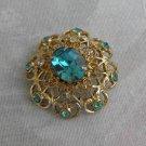 Coro Aqua Blue Teal Rhinestone Dome Pin Petite Vintage Jewelry