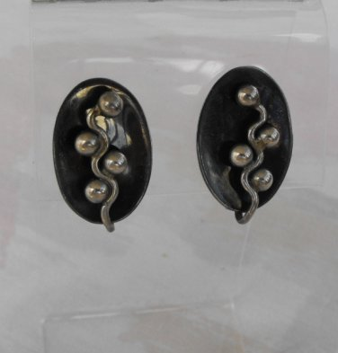 Taxco Mexican 980 Silver Mod Screw Earrings Signed RAK Gray Enamel Vintage Jewelry
