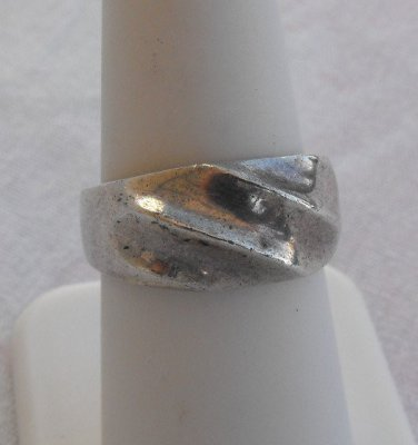 Mexican Sterling Silver Ring Indented Swirl Pattern Size 7.25 Vintage Jewelry