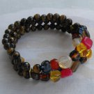 Triple Strand Tigers Eye Bracelet Plus Colorful Red Yellow Blue Glass Jewelry