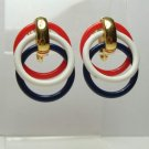 Trifari Red White Blue Rings Clip On Earrings Patriotic Vintage Jewelry