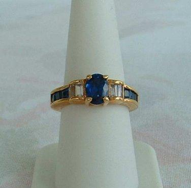 Lind Blue Sapphire Rhinestones Ring Size 8 14K HGE Baguette Cut 1980s Vintage Jewelry