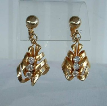 Retro Earrings Spirals Rhinestones White Cabs Clip Ons Vintage Jewelry