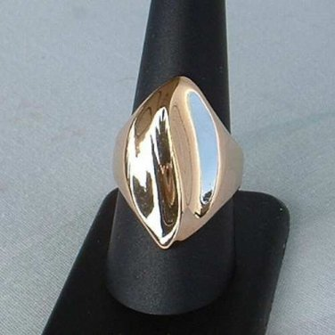 PL Signed Rose Gold Plated Ring Retro Size 9 Curved Modernist Vintage Jewelry