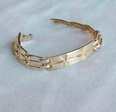 C - C Marked Art Deco Gold Plated Link Bracelet Antique Jewelry