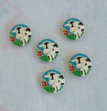 5 Cow Button Covers Black White Enamel Green Grass Blue Skies Vintage 4H Jewelry
