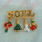 NOEL Pin with Enamel Drops Christmas Tree Stocking Wreath Elf Christmas Holiday Jewelry