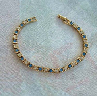 Sapphire Blue Clear Rhinestones Tennis Bracelet Ribbed Links Goldplated Jewelry